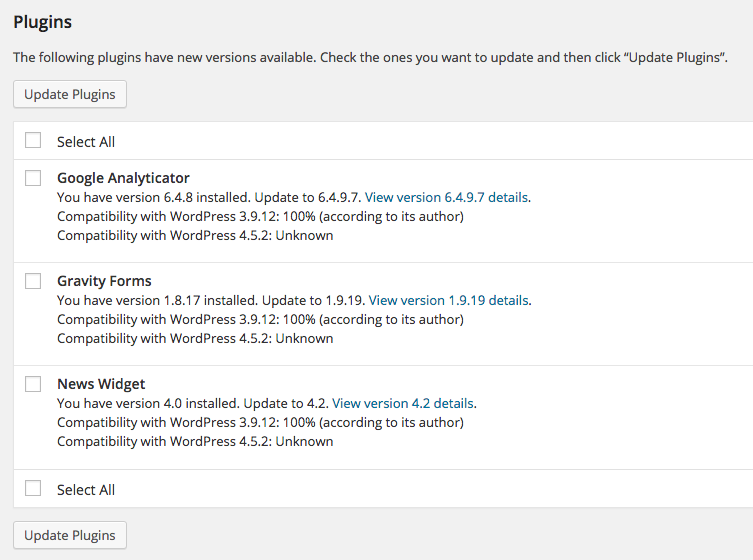 Update your WordPress plugins
